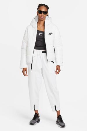 gewatteerde jas met logo wit/zwart