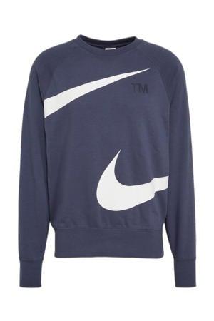 sweater met logo blauw/wit