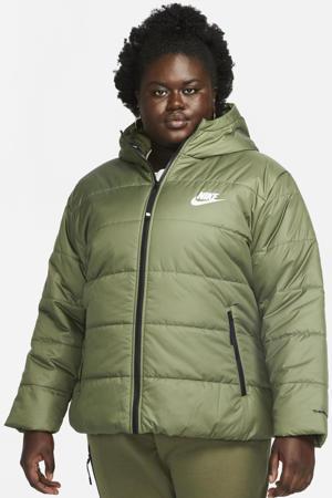 gewatteerde jas met logo groen