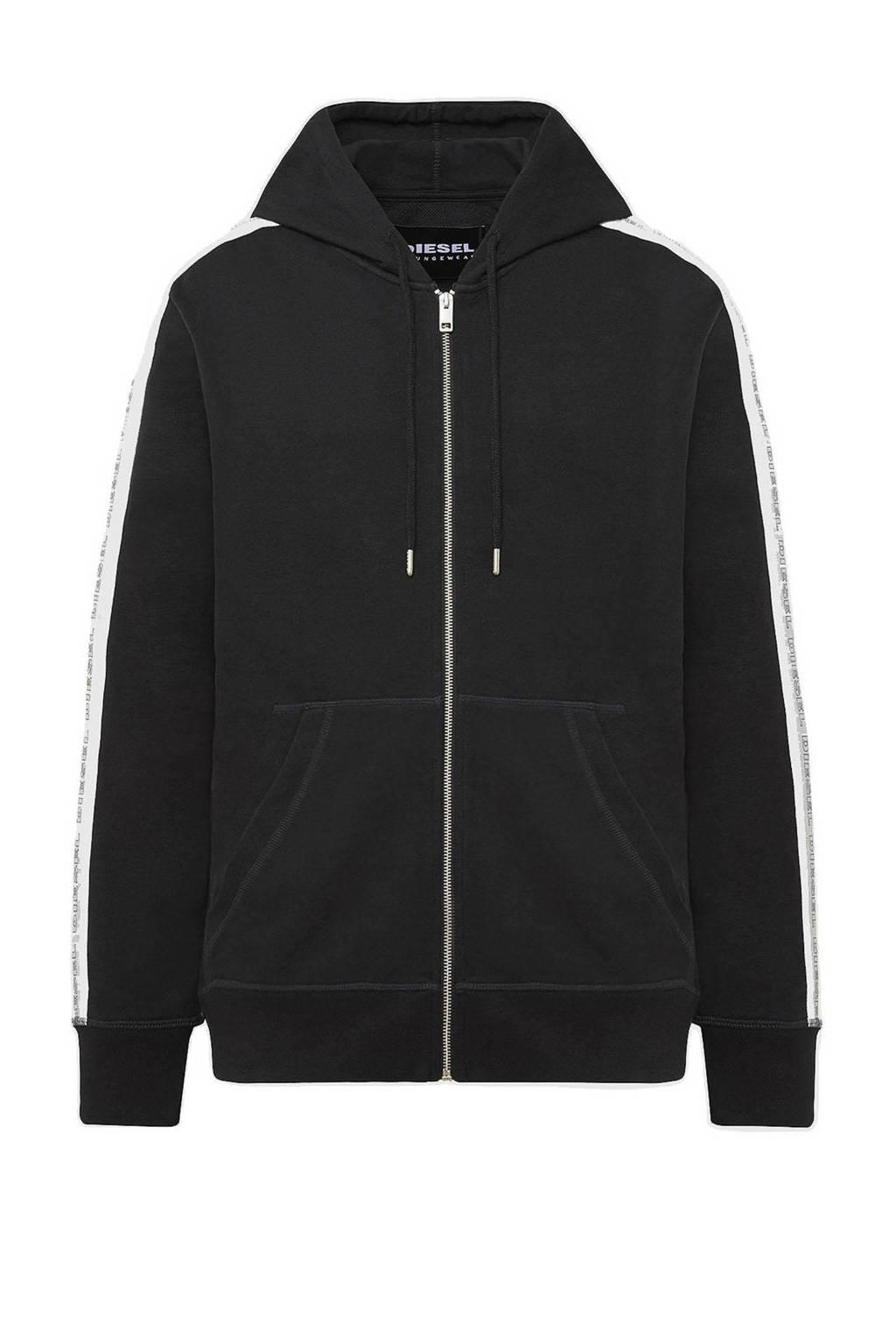 Diesel vest Brandon met contrastbies zwart, Zwart