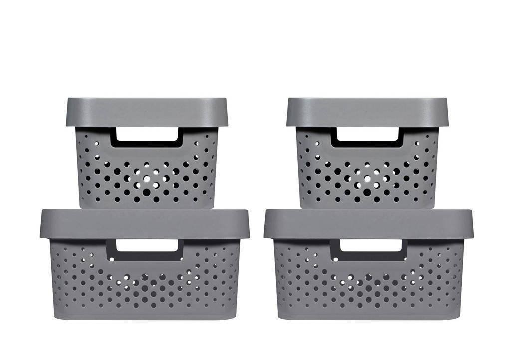 Curver opbergbox (set van 4), Donkergrijs, 39,5x29,5x26