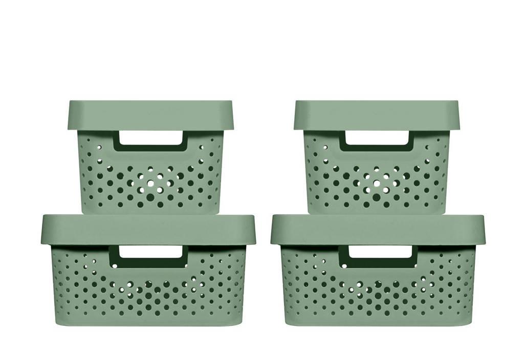 Curver opbergbox (set van 4), Groen, 39,5x29,5x26