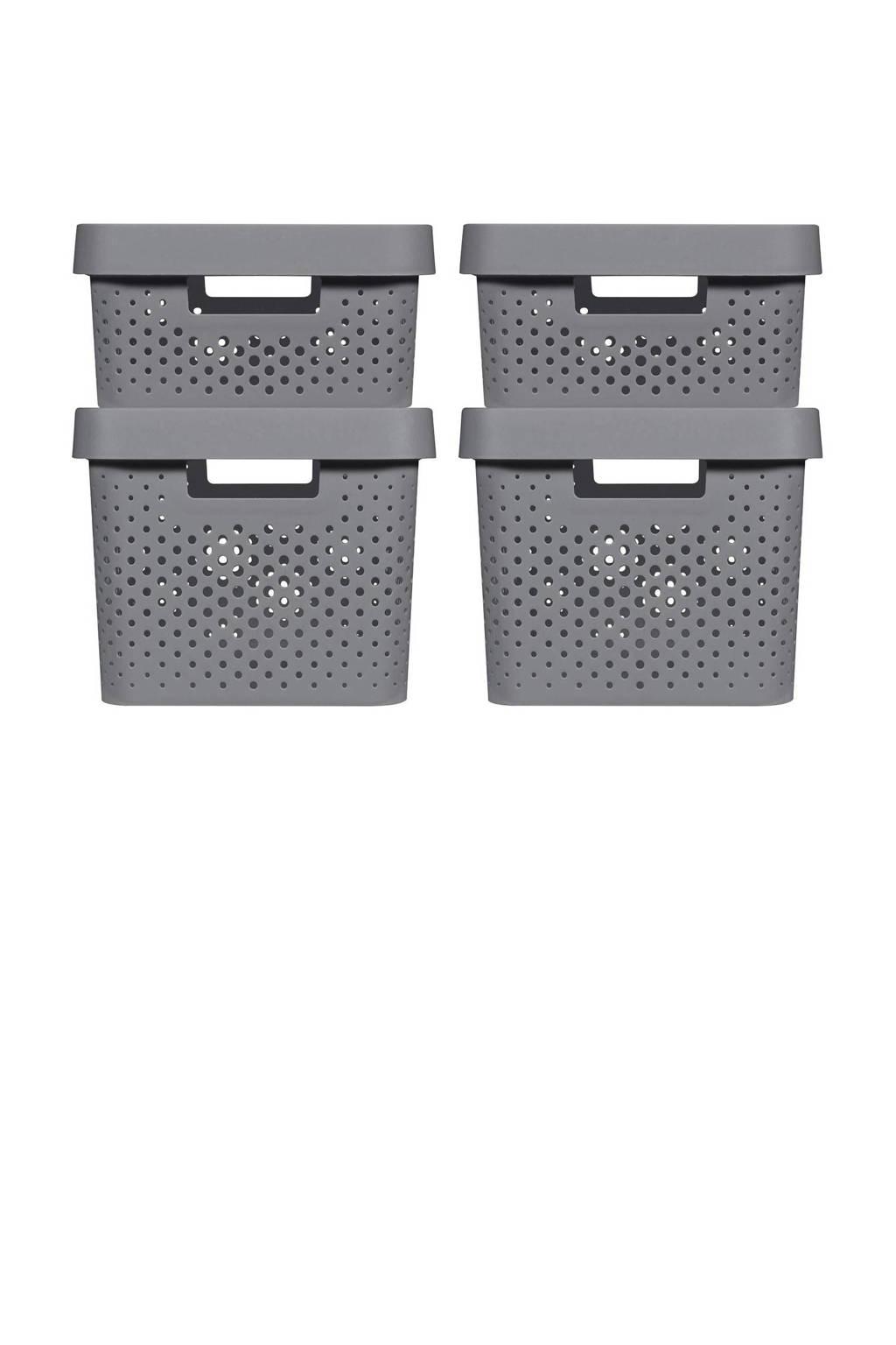 Curver opbergbox (set van 4), Donkergrijs, 39,5x29,5x43