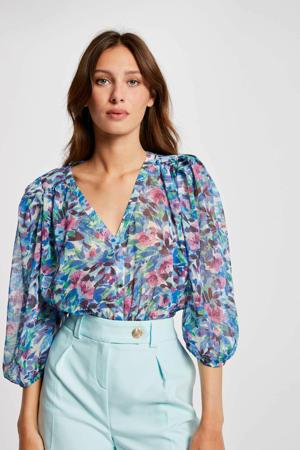 gebloemde blouse blauw