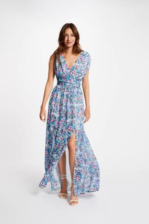 gebloemde semi-transparante maxi jurk blauw