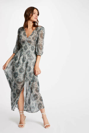 semi-transparante maxi jurk met paisleyprint grijs/ turquoise