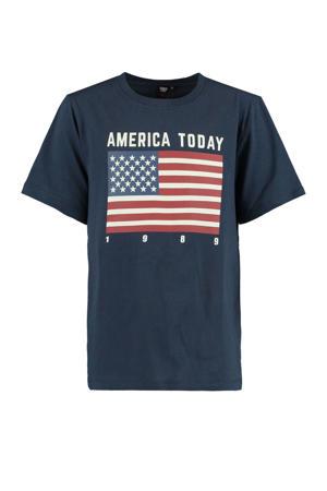 T-shirt Evan Flag met printopdruk donkerblauw