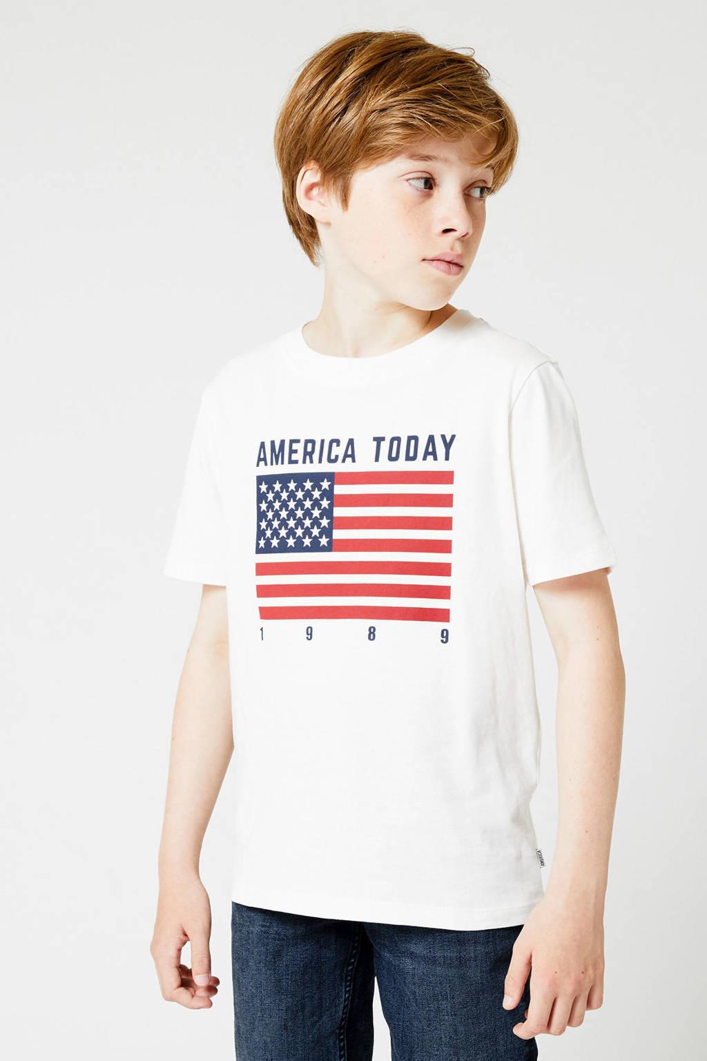 America Today Junior T-shirt Evan met printopdruk ecru/rood/blauw, Ecru/rood/blauw