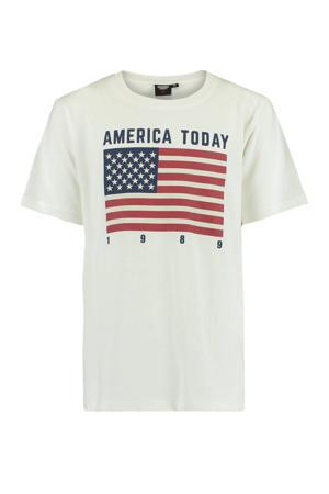 T-shirt Evan met printopdruk ecru/rood/blauw