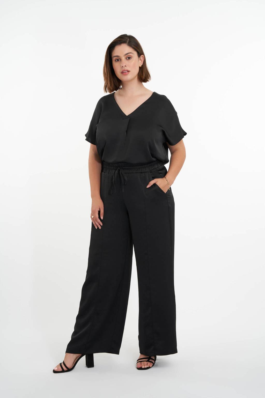 MS Mode satijnen wide leg palazzo broek zwart, Zwart