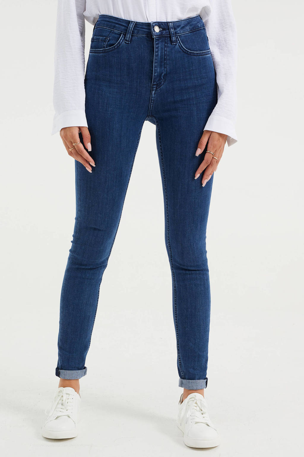 WE Fashion Blue Ridge high waist skinny jeans mid blue, Mid blue