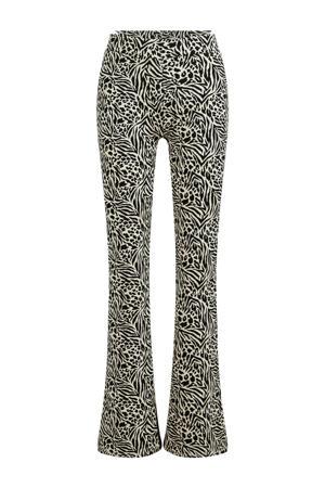 flared legging met zebraprint wit/zwart