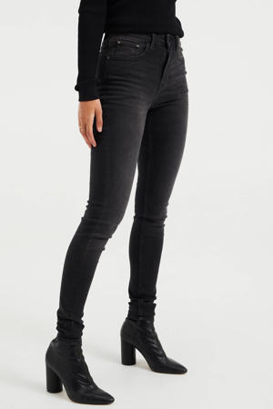 high waist super skinny jeans donkergrijs