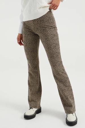 flared legging met dierenprint beige/zwart