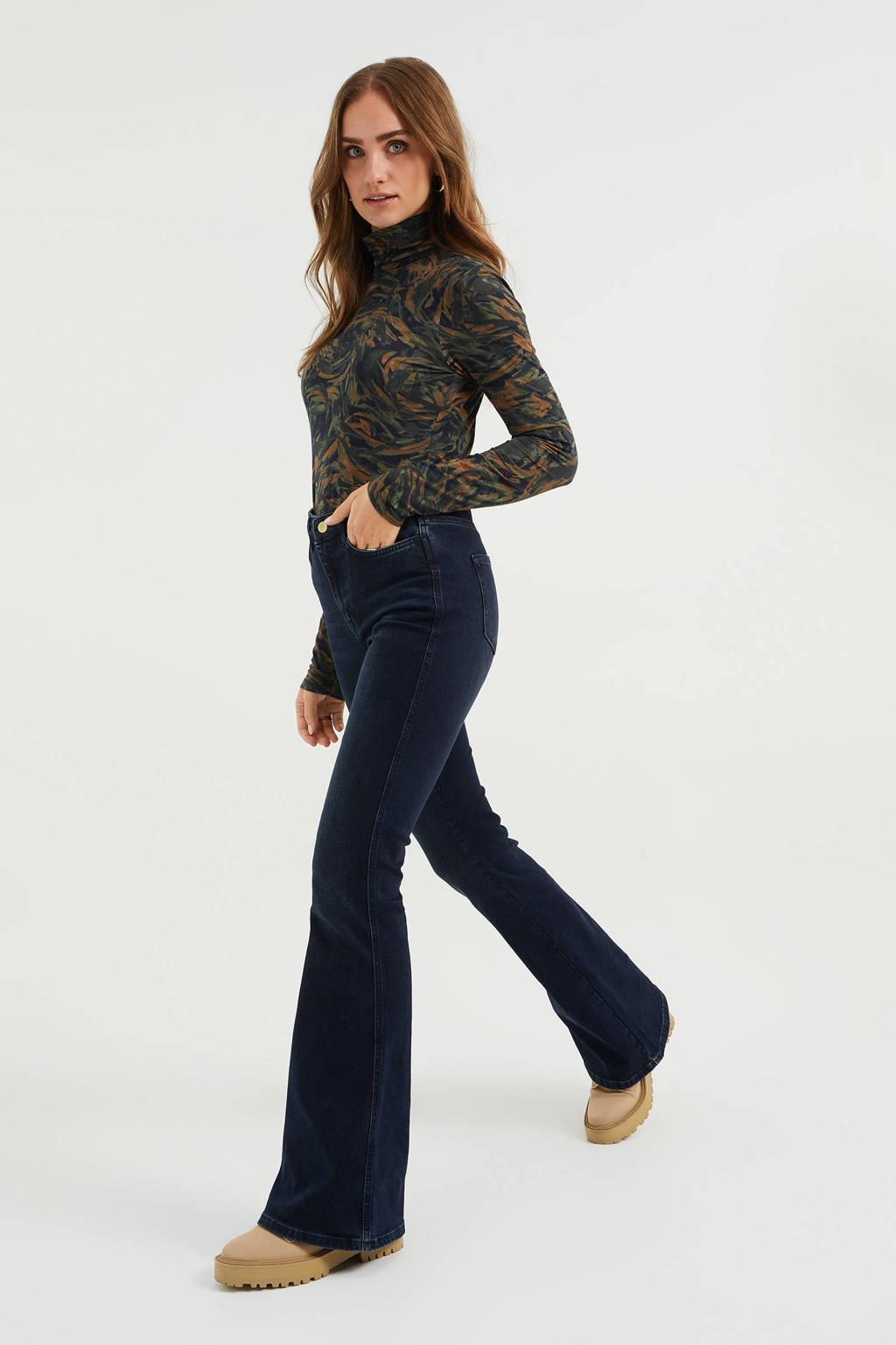 WE Fashion Blue Ridge high waist flared jeans dark blue, Dark Blue