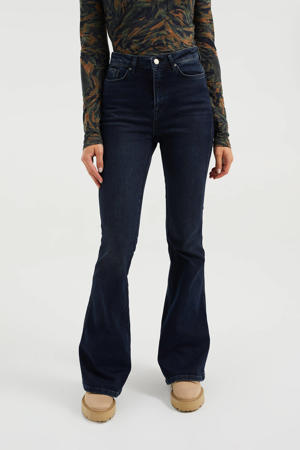 high waist flared jeans dark blue