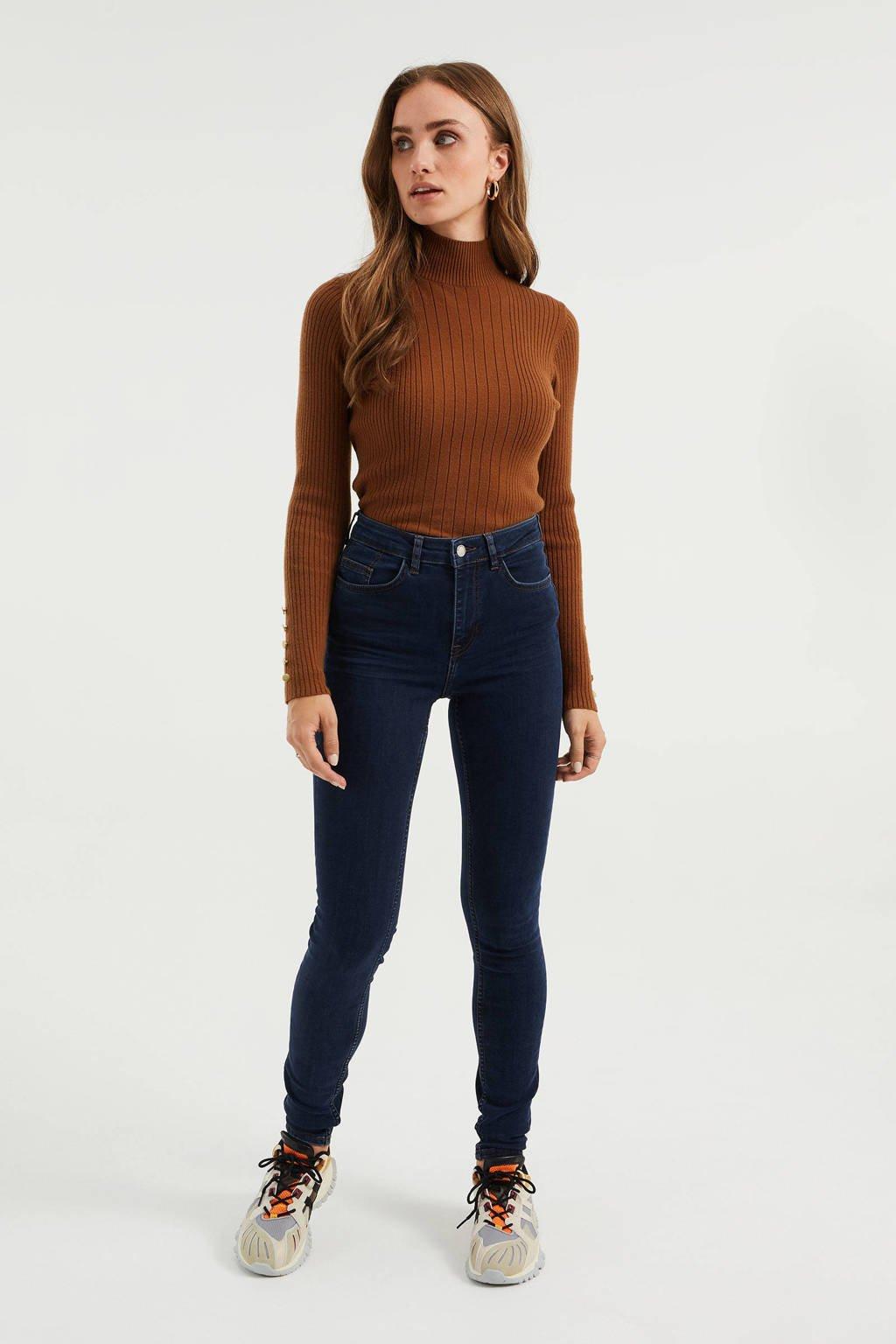 WE Fashion Blue Ridge high waist skinny jeans dark blue, Dark Blue