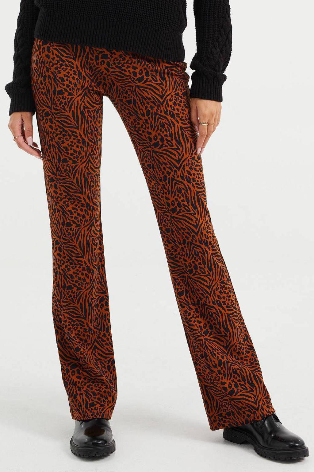 WE Fashion flared legging met zebraprint bruin/zwart, Bruin/zwart
