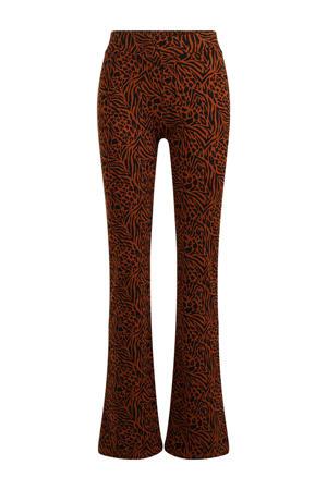 flared legging met zebraprint bruin/zwart