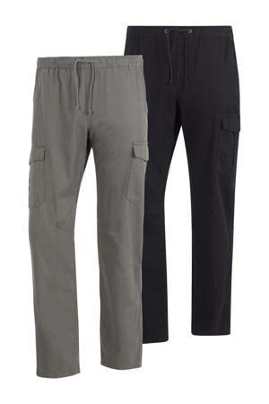 loose fit broek EROLL Plus Size zwart/grijsgroen - (set van 1)