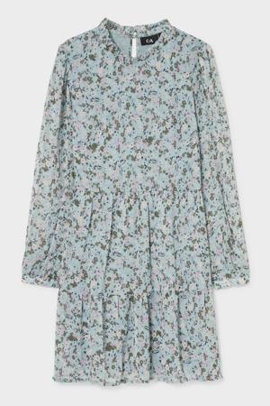 gebloemde semi-transparante A-lijn jurk zwart/roze/blauw