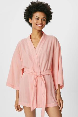 geweven katoenen kimono roze