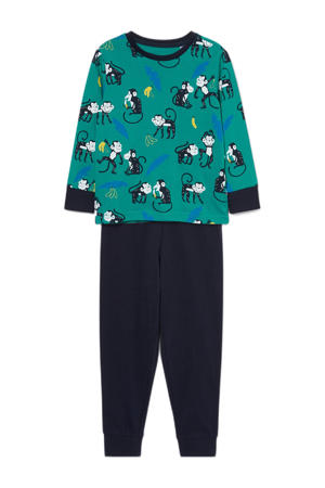 pyjama van biologisch katoen groen/donkerblauw