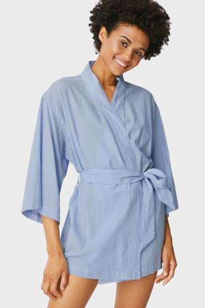 geweven katoenen kimono lichtblauw