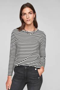 s.Oliver gestreept t-shirt loose fit zwart/wit, Zwart