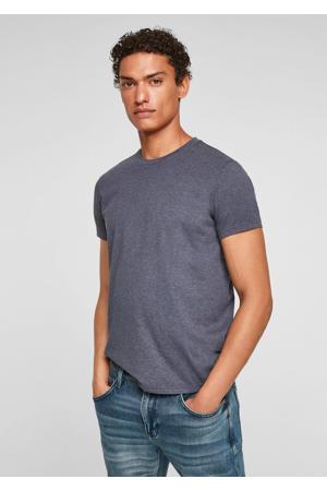 gemêleerd slim fit T-shirt donkerblauw