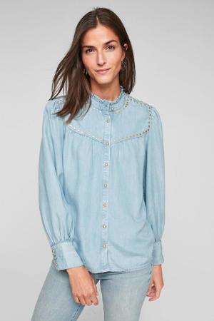 blouse met studs lichtblauw