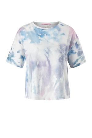 tie-dye cropped T-shirt wit/lichtblauw/lila