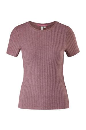 ribgebreide t-shirt oudroze