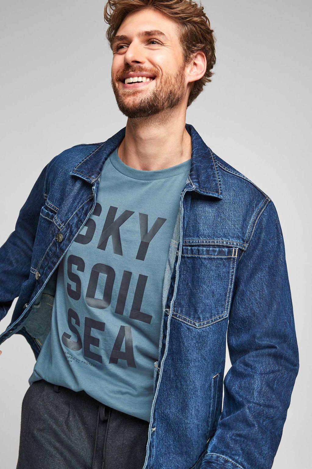 s.Oliver regular fit T-shirt met tekst lichtblauw, Lichtblauw