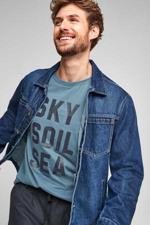 regular fit T-shirt met tekst lichtblauw