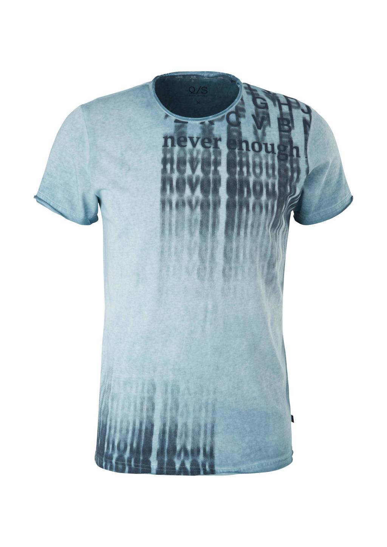 Q/S designed by slim fit T-shirt met tekst lichtblauw, Lichtblauw