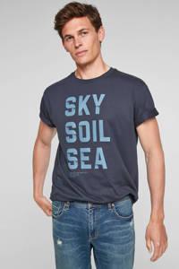 s.Oliver regular fit T-shirt met tekst donkerblauw, Donkerblauw