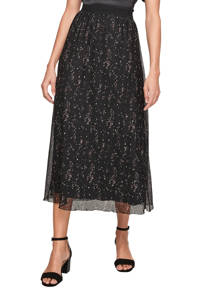 s.Oliver BLACK LABEL plisserok met all over print in mesh zwart, Zwart
