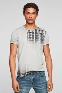 Q/S designed by slim fit T-shirt met tekst lichtgrijs, Lichtgrijs