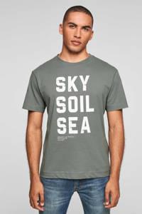 s.Oliver regular fit T-shirt met tekst groen, Groen