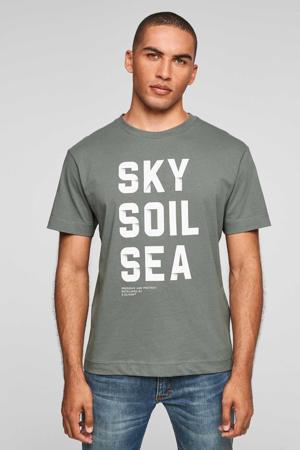 regular fit T-shirt met tekst groen