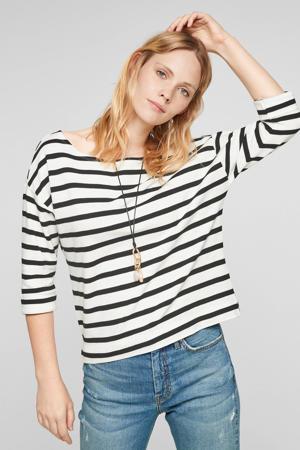 gestreept t-shirt met boothals wit/zwart
