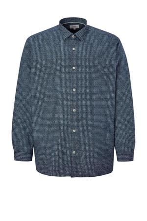 regular fit overhemd Plus Size met all over print blauw