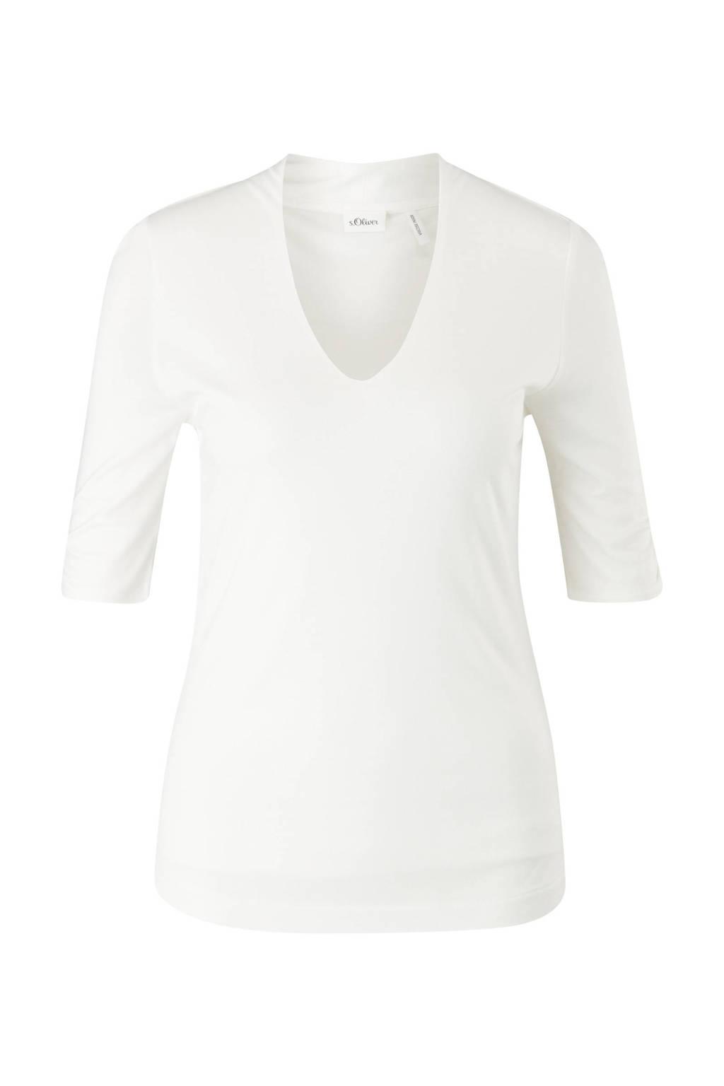 s.Oliver BLACK LABEL slim fit T-shirt wit, Wit