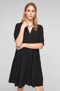Q/S designed by trapeze jurk met volant zwart, Zwart