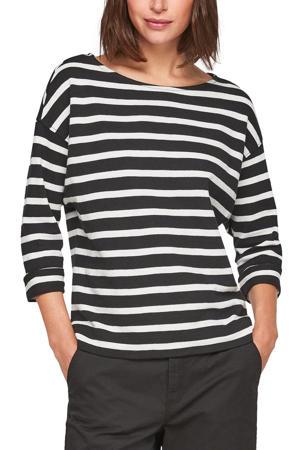 gestreept t-shirt met boothals zwart/wit