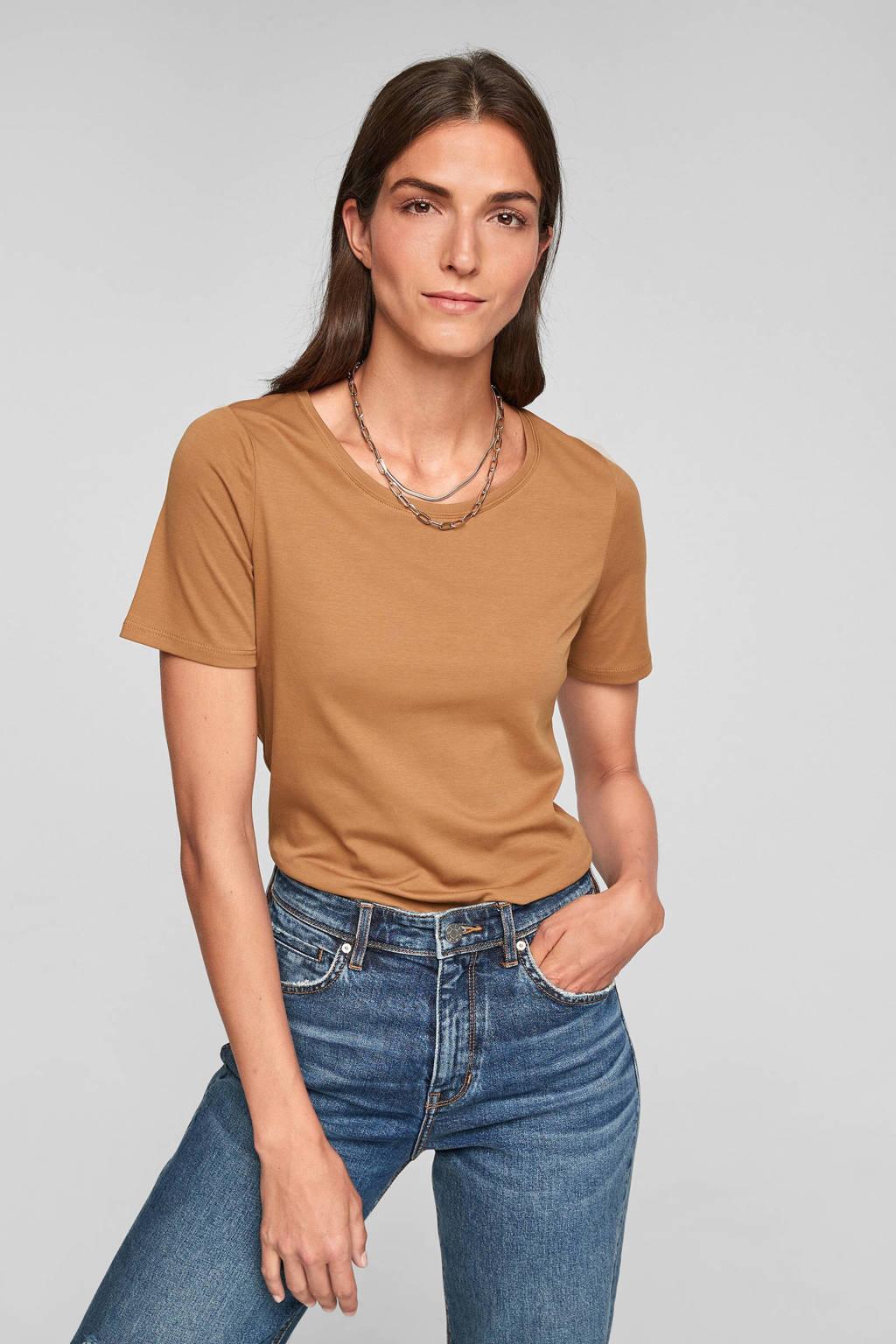 s.Oliver katoenen basis t-shirt lichtbruin, Lichtbruin