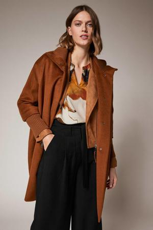 coat met wol cognac