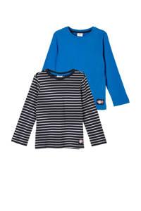 s.Oliver longsleeve - set van 2 zwart/wit/blauw, Multi