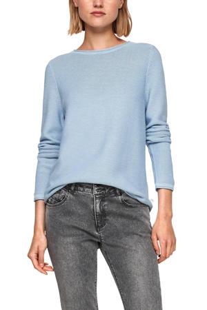fijngebreide trui met katoen lichtblauw